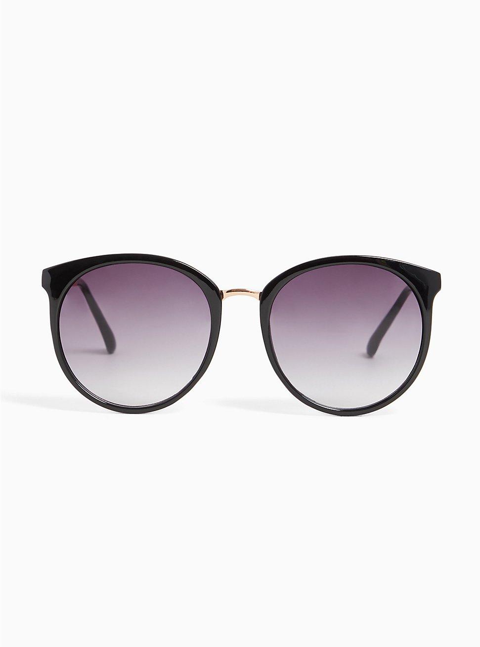 Black Rounded Cat Eye Sunglasses, , hi-res