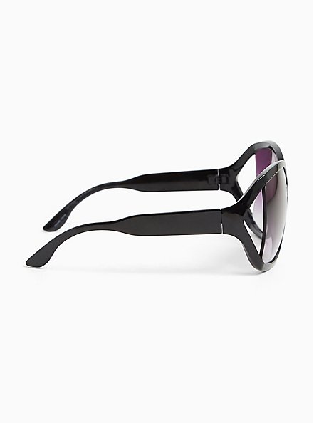 Plus Size Black Classic Infinity Sunglasses, , alternate