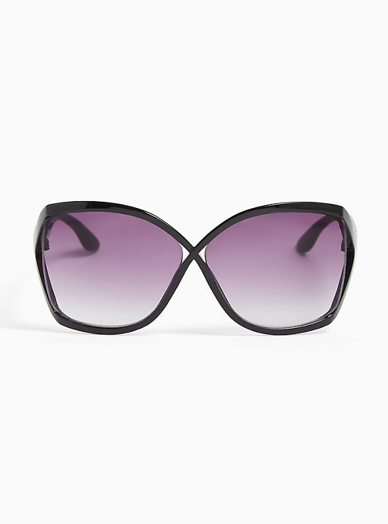Plus Size Black Classic Infinity Sunglasses, , hi-res