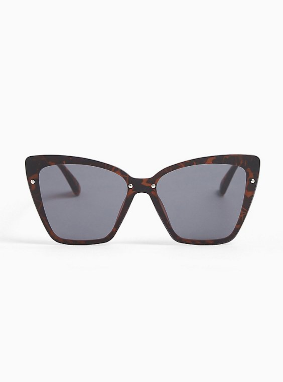 Plus Size Tortoiseshell Cat Eye Sunglasses, , hi-res