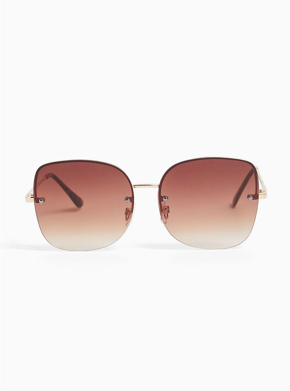 Gold-Tone Rimless Square-Oval Sunglasses, , hi-res