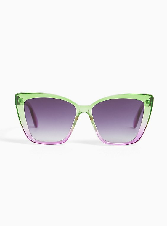 Green & Purple Ombre Cat Eye Sunglasses, , hi-res