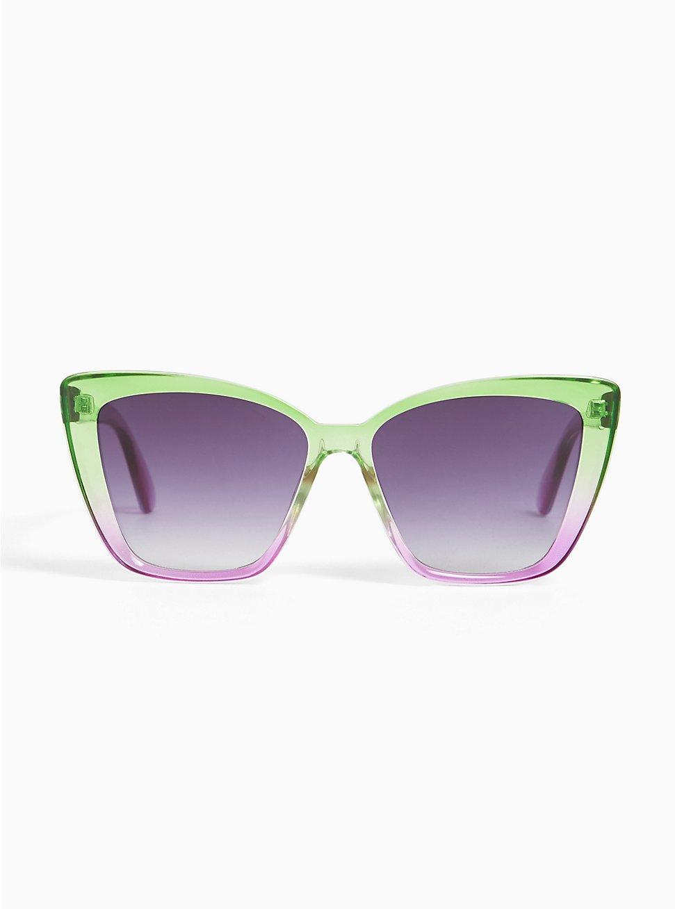 Green & Purple Ombre Cat Eye Sunglasses, , hi-res