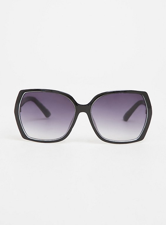 Black & White Rectangle Sunglasses, , hi-res