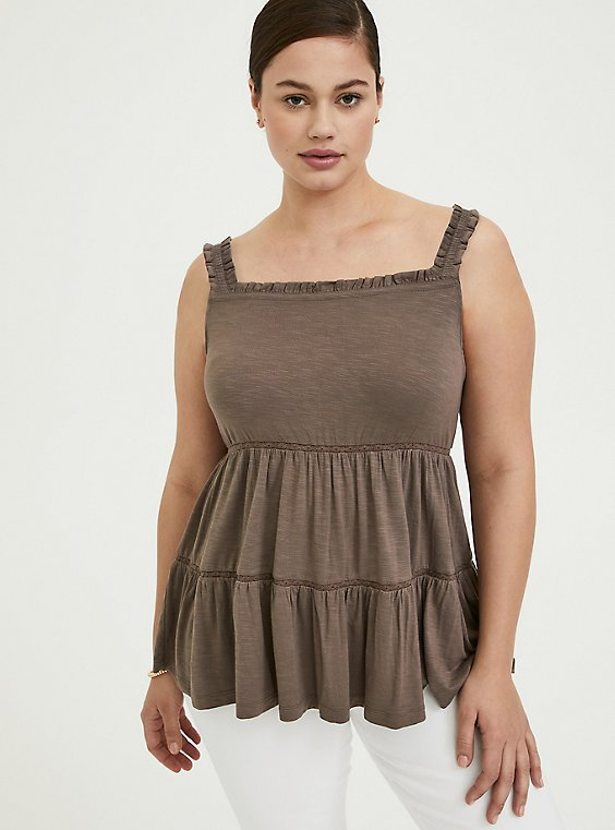 Plus Size Dark Taupe Slub Jersey Shirred Hem Off Shoulder Top , , hi-res