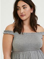 Plus Size Heather Grey Slub Jersey Shirred Hem Off Shoulder Top, HEATHER GREY, alternate
