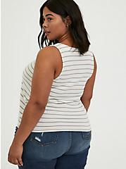 Ivory & Taupe Stripe Button Tank, MULTI STRIPE, alternate