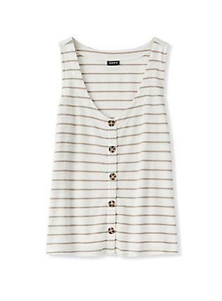 Ivory & Taupe Stripe Button Tank, MULTI STRIPE, flat