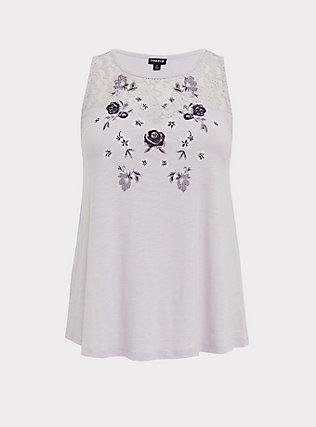 Lilac Purple Slub Jersey Embroidered Lace Yoke Tank, LILAC MARBLE, flat