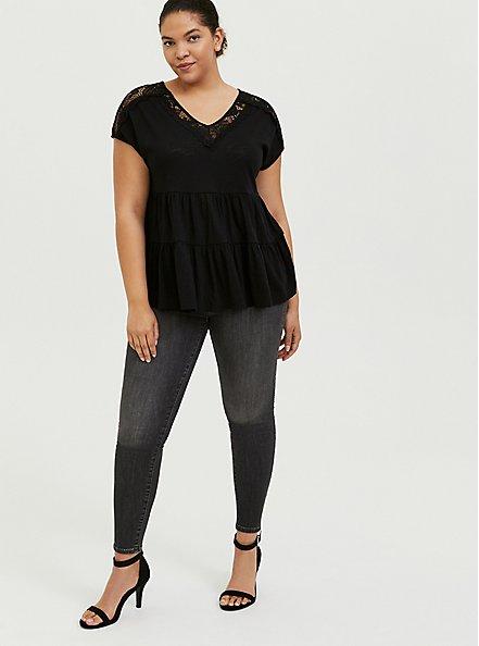 Black Slub Jersey & Crochet Shirred Babydoll Top, DEEP BLACK, alternate