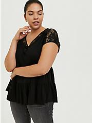 Black Slub Jersey & Crochet Shirred Babydoll Top, DEEP BLACK, alternate