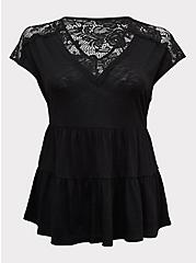 Black Slub Jersey & Crochet Shirred Babydoll Top, DEEP BLACK, hi-res