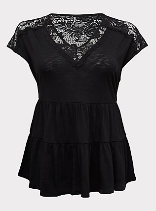 Black Slub Jersey & Crochet Shirred Babydoll Top, DEEP BLACK, flat