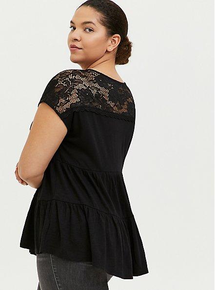 Black Slub Jersey & Crochet Shirred Babydoll Top, DEEP BLACK, hi-res