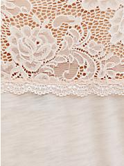 Plus Size Light Pink Lace Trim Shirred Babydoll Top, PEACH BLUSH, alternate