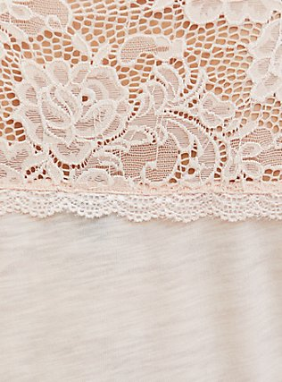 Light Pink Lace Trim Shirred Babydoll Top, PEACH BLUSH, alternate