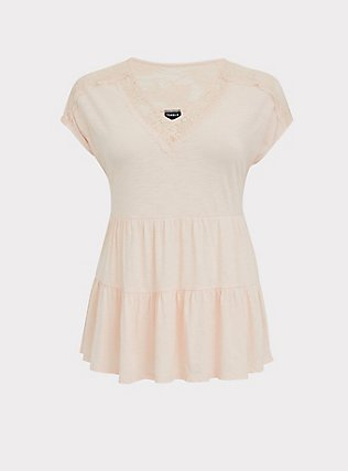 Light Pink Lace Trim Shirred Babydoll Top, PEACH BLUSH, flat