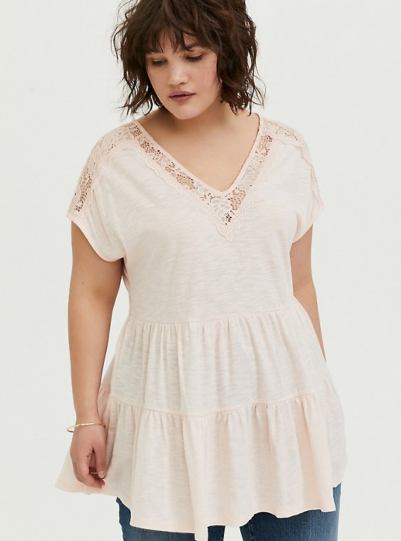 Plus Size Light Pink Lace Trim Shirred Babydoll Top, PEACH BLUSH, hi-res