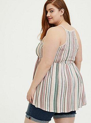 Multi Stripe Jersey Smocked High Neck Babydoll Top, STRIPES, alternate