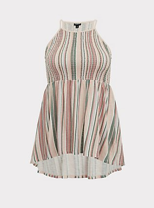 Plus Size Multi Stripe Jersey Smocked High Neck Babydoll Top, STRIPES, flat
