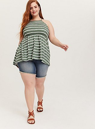 Plus Size Green & White Stripe Slub Jersey Smocked High Neck Babydoll Top, STRIPES, alternate