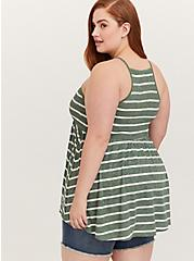Green & White Stripe Slub Jersey Smocked High Neck Babydoll Top, STRIPES, alternate
