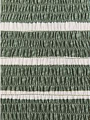 Green & White Stripe Slub Jersey Smocked High Neck Babydoll Top, STRIPES, alternate