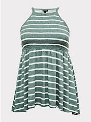 Green & White Stripe Slub Jersey Smocked High Neck Babydoll Top, STRIPES, hi-res