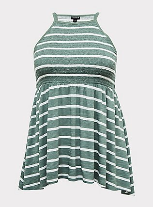 Plus Size Green & White Stripe Slub Jersey Smocked High Neck Babydoll Top, STRIPES, flat