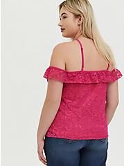 Plus Size Hot Pink Lace Cold Shoulder Halter Top, EYE CANDY PINK, alternate