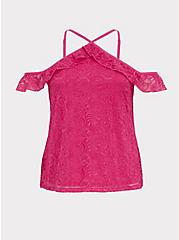 Plus Size Hot Pink Lace Cold Shoulder Halter Top, EYE CANDY PINK, hi-res