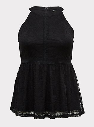 Plus Size Black Lace High Neck Peplum Top, DEEP BLACK, flat