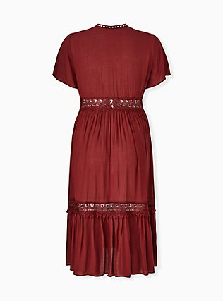 Brick Red Gauze Lace Inset Duster Kaftan, MADDER BROWN, alternate
