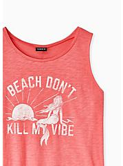 Beach Vibes Coral Slub Jersey Tank, , alternate