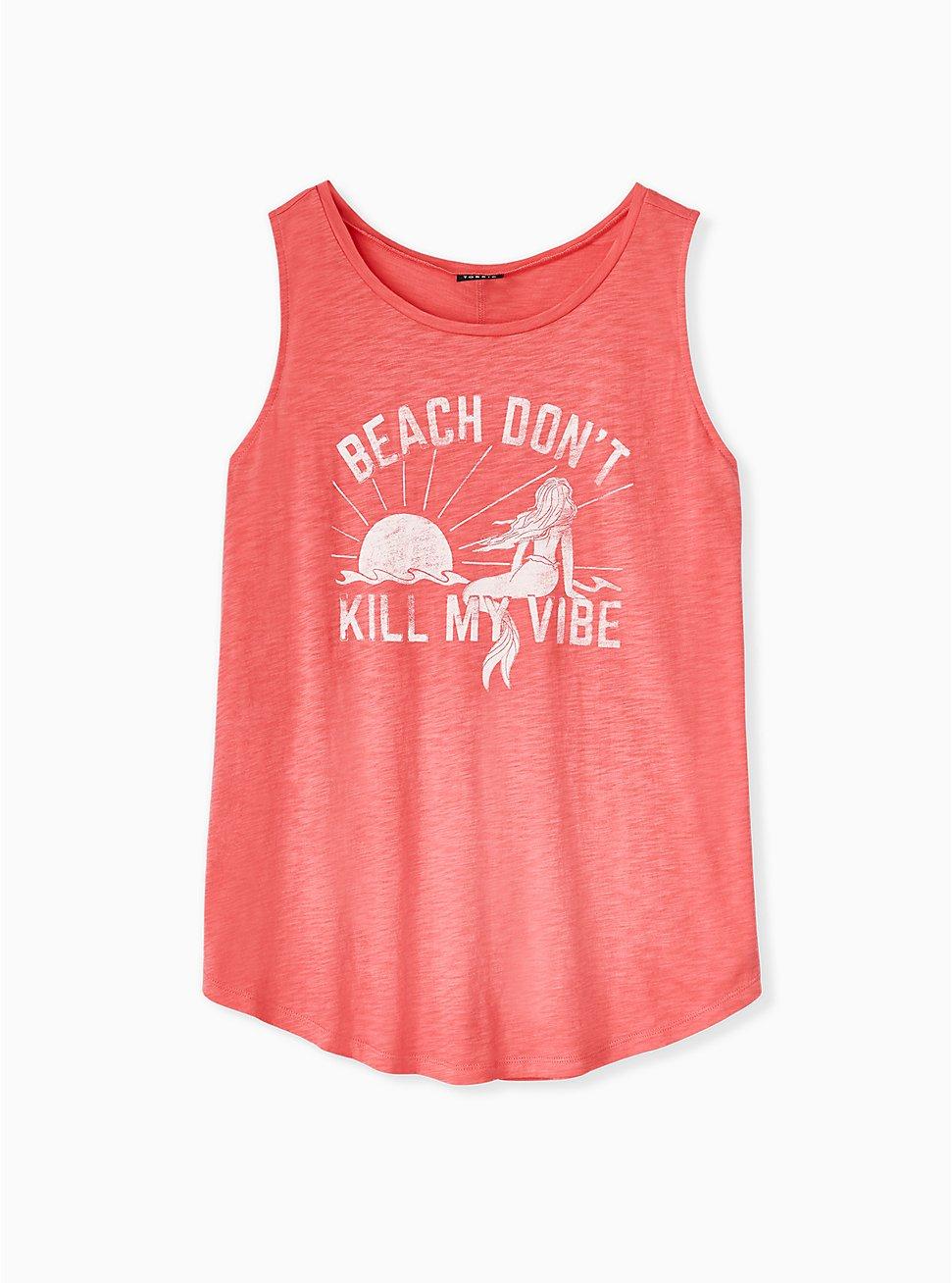 Plus Size Beach Vibes Coral Slub Jersey Tank, , hi-res