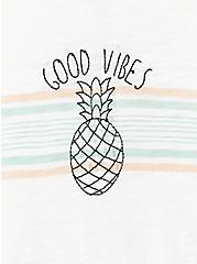 Good Vibes Pineapple White Crew Tee, CLOUD DANCER, alternate
