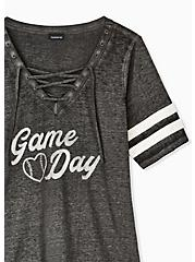 Game Day Black Triblend Lace-Up Football Tee, DEEP BLACK, alternate