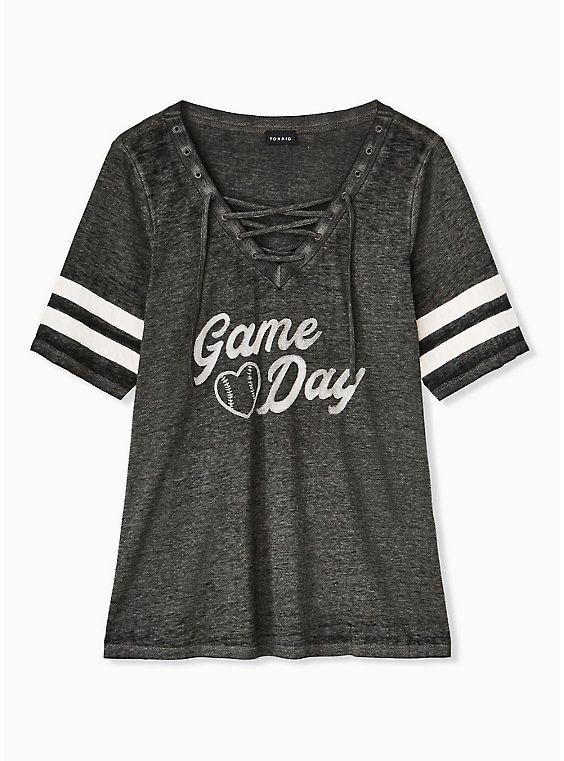 Game Day Black Triblend Lace-Up Football Tee, DEEP BLACK, hi-res