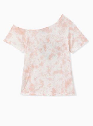 Light Pink Tie-Dye Slub Jersey Peace Desert Off Shoulder Tunic, , alternate