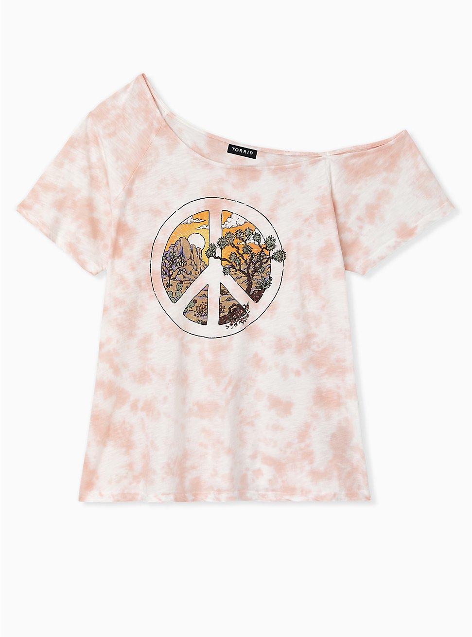Light Pink Tie-Dye Slub Jersey Peace Desert Off Shoulder Tunic, , hi-res