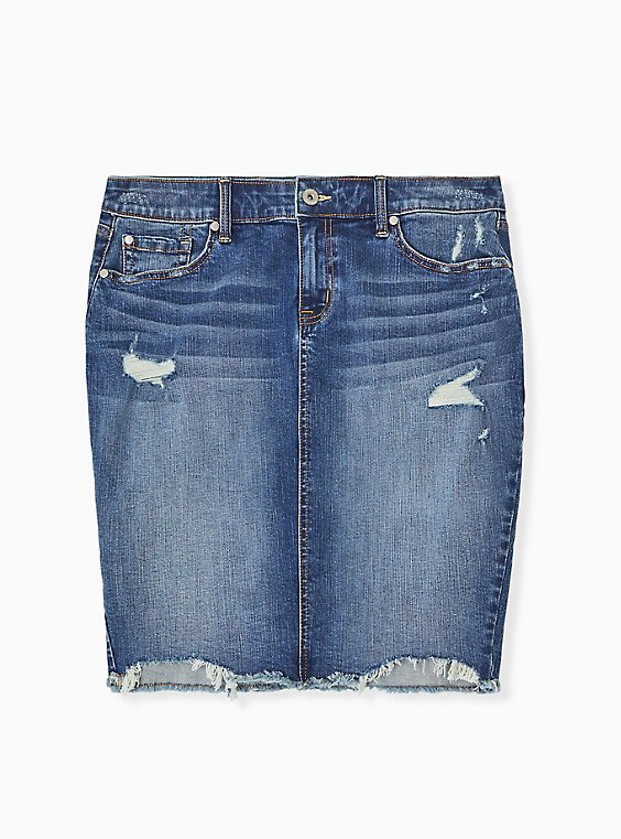 Plus Size Denim Mini Skirt - Distressed Dark Wash, , hi-res