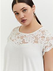 Super Soft White Lace Sleeve Top, CLOUD DANCER, alternate