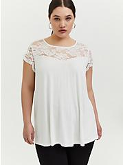Super Soft White Lace Sleeve Top, CLOUD DANCER, hi-res