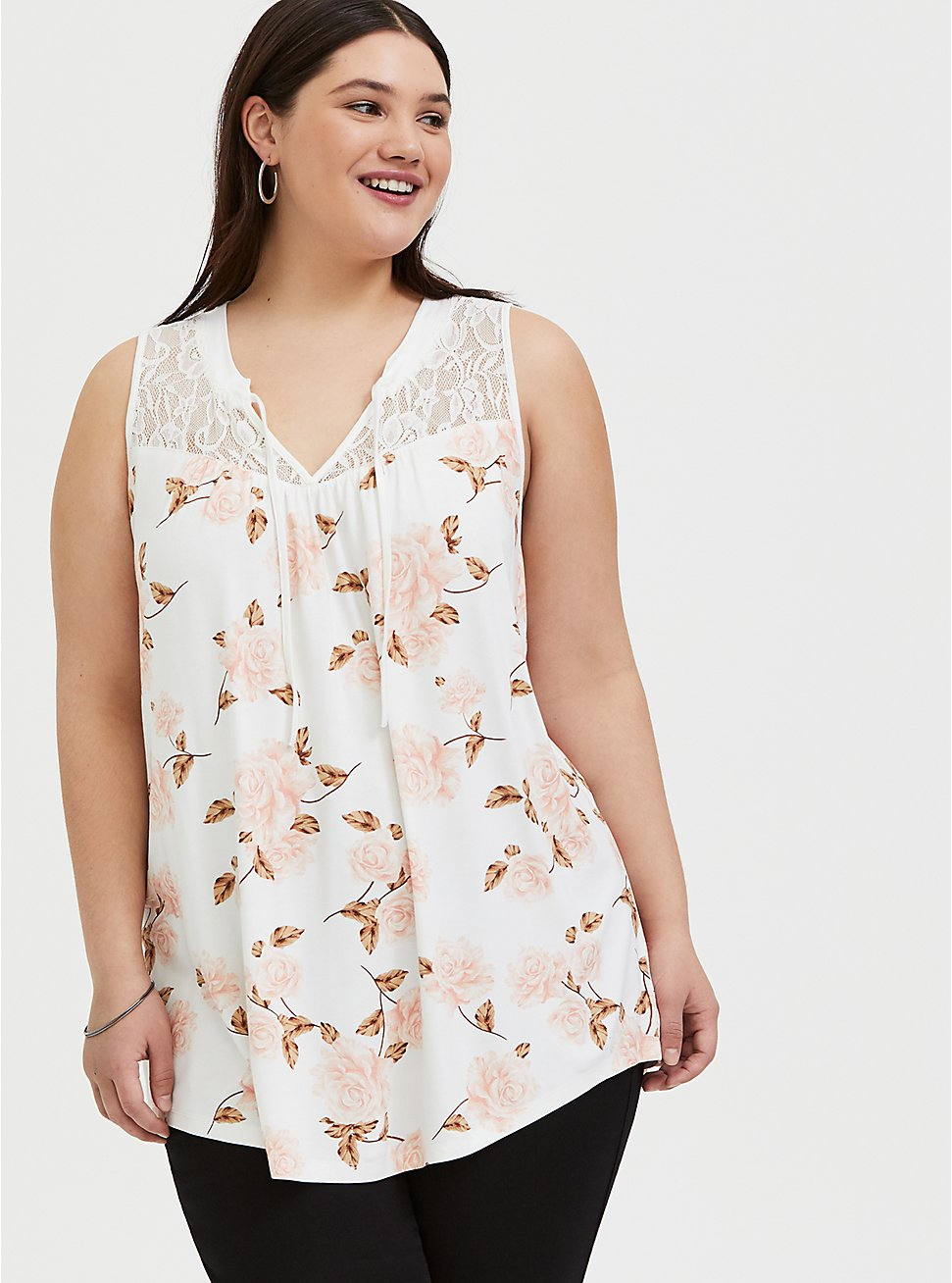 Super Soft White Floral Lace Yoke Swing Tank, FLORAL - IVORY, hi-res