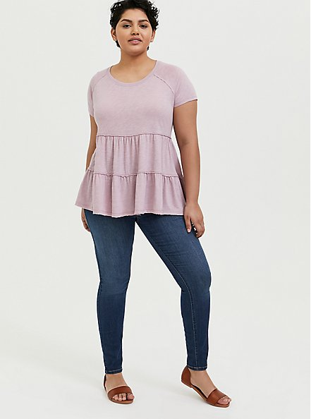 Plus Size Mauve Pink Shirred Babydoll Top, MAUVE SHADOWS, alternate