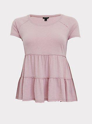 Mauve Pink Shirred Babydoll Top, MAUVE SHADOWS, flat