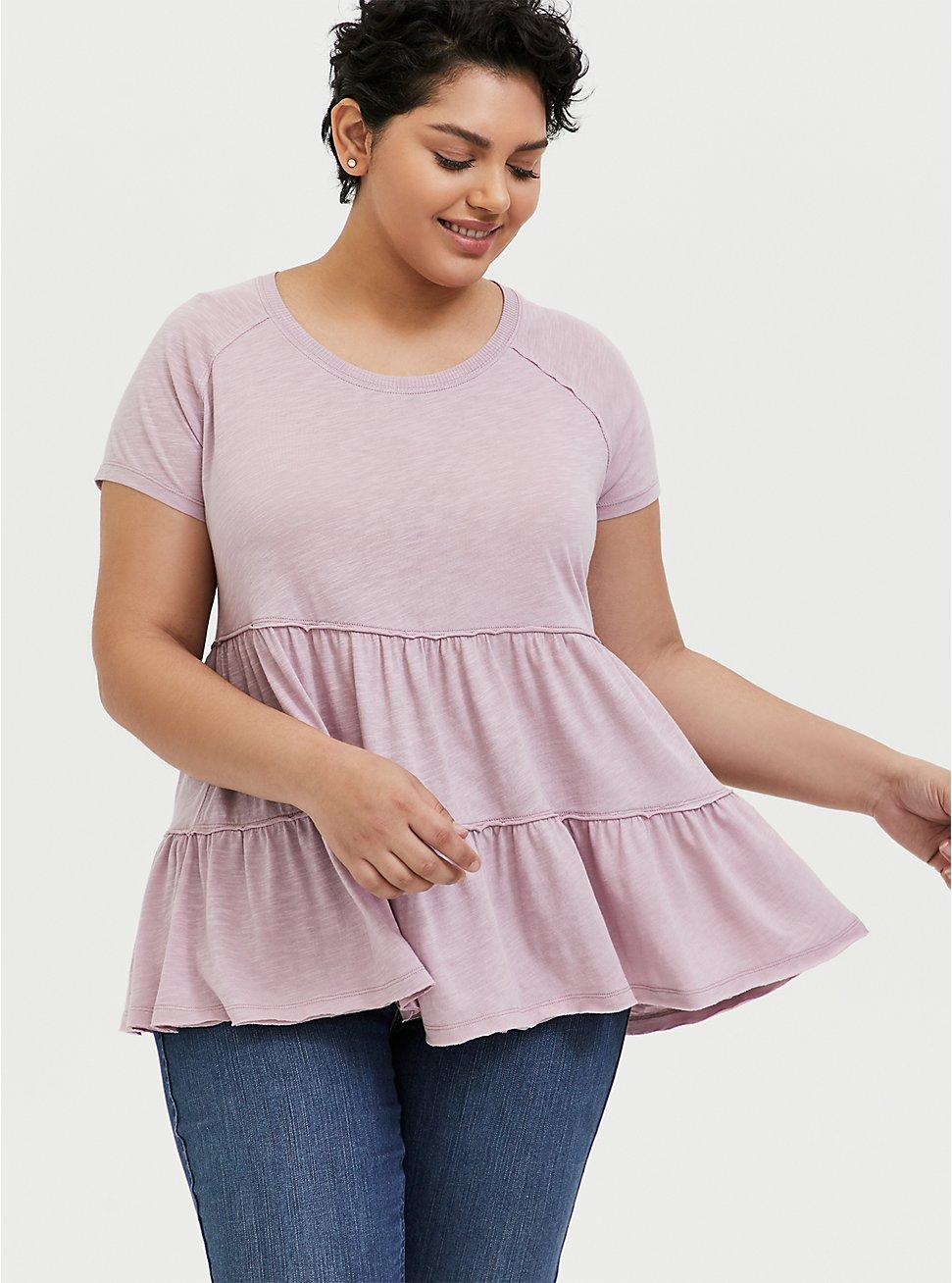 Mauve Pink Shirred Babydoll Top, MAUVE SHADOWS, hi-res