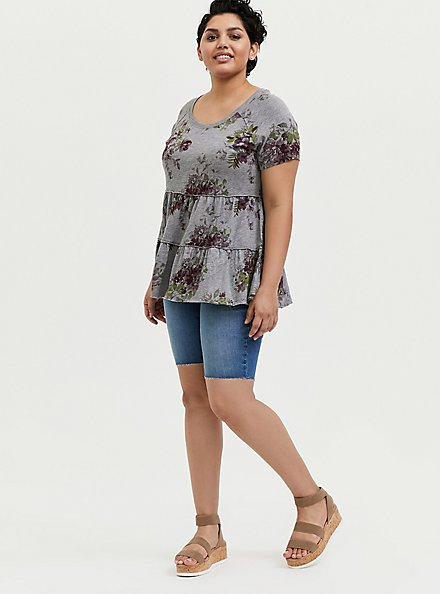 Heather Grey Floral Shirred Babydoll Top, FLORAL - GREY, alternate