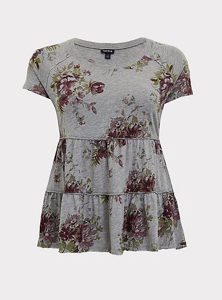 Heather Grey Floral Shirred Babydoll Top, FLORAL - GREY, hi-res