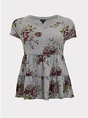 Heather Grey Floral Shirred Babydoll Top, FLORAL - GREY, hi-res